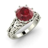 Ruby Ring in 14k White Gold | 1.98 ct. tw. | Round Cut | Amice | Diamondere