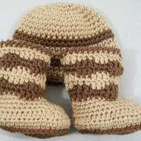 Beanie Hat and Boots -Baby Boy Gift Set-Crochet Brown and Tan-Baby Shower Gift-0/3M--#128