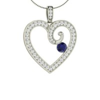 Sapphire & Diamond Necklace in Platinum | 0.76 ct. tw. | Round Cut | Heart Pendant | Lyssa | Diamondere