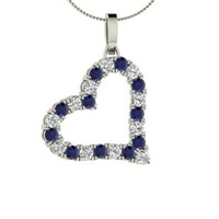 Diamond & Sapphire Necklace in Platinum | 0.89 ct. tw. | Round Cut | Heart Pendant | Carensa | Diamondere