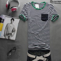 Cotton Fashion All-Match Japa Simple Stripe Style Green Neckline Cotta Men T-Shirt M/L/XL@dat0175g