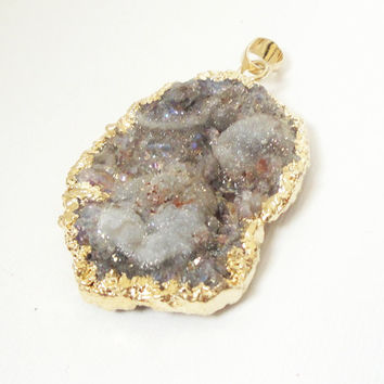 Champagne Brownish Natural Agate Druzy Pendant, Crystal Agate Sparkly Dipped in Gold Druzy Drusy Teardrop Pendant