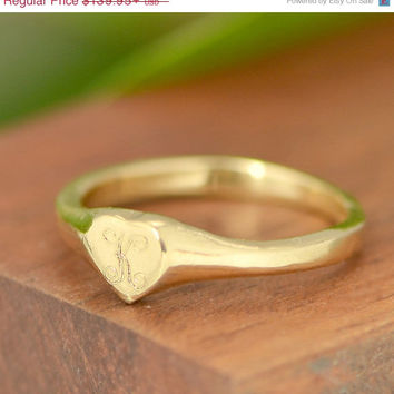 Fall Sale 10kt Yellow Gold Heart Ring - Initial Gold Ring - Heart Signet - Gold Promise Ring - Personalized Ring - Initial Heart - Letter Ri