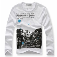 Long Sleeve White Fantastic World Cotton Men T-shirt M/L/XL@dat0153w