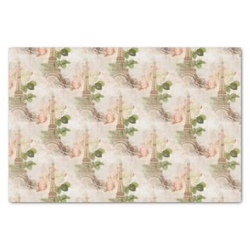 Paris Pink Rose Vintage Romantic Tissue Paper