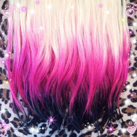 Blonde to fushia to black Ombre hair clip in extensions