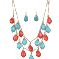 Coral & Turquoise Stone Necklace & Earring Set