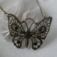 SALE Butterfly necklace- Filigree butterfly- Large butterfly- Filigree necklace- Spring accessory- Nature- Butterfly