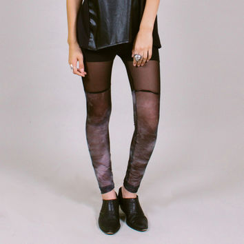 Night fog leggings - sheer black and grey mesh faux thigh hi