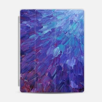 SCALES OF A DIFFERENT COLOR - Bold Deep Violet Aubergine Lavender Periwnke Purple Ombre Ocean Waves Splash Abstract Peacock Feathers Painting iPad 3/4 case by Ebi Emporium | Casetify