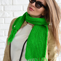 Green Scarf - Chunky Green Scarf - Hand Knitted