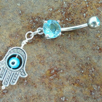 Light Blue Evil Eye Belly Button Ring, Hand of Fatima Belly Jewelry Hamsa