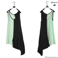 Girl/Women Green Matching With Black Irregular Vest Style T-Shirt@3026