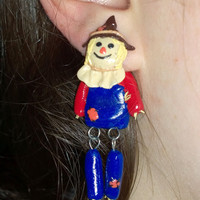 Scarecrow Earrings, surgical steel posts, polymer clay jewelry