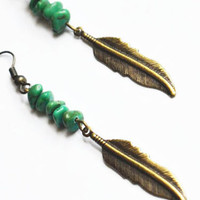 Turquoise Feather Earrings. Bohemian Tribal Jewelry. Long Feather Earrings. Back to School