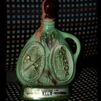 "Vintage Jim Beam Decanter Licor Bottle ""American Samoa"" 1973 Kentucky Bourbon Whiskey"