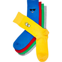 River Island MensMixed smiley cartoon motif socks pack