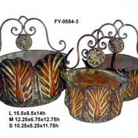 Cheungs Rattan Metal Cabbage Shaped Wall Basket with Attached Hanging Hooks (Set of 3) - FY-0554-2