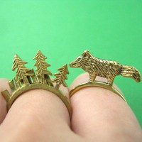 Limited Edition and Handmade - Wolf Fox Animal Ring in Size 7 to 9