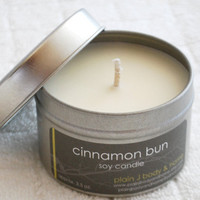 Cinnamon Bun Soy Candle Tin 4 oz. - warm cinnamon soy candle