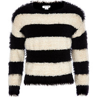 River Island Girls black stripe fluffy sweater