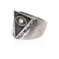 River Island MensSilver tone triangle eye ring