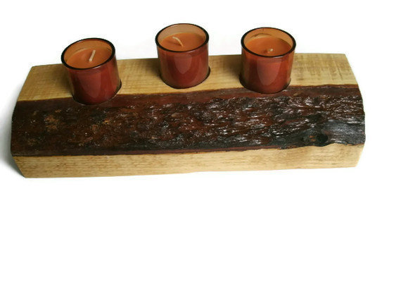 Wood Candle Holder - Rustic Votive Holder -READY TO SHIP