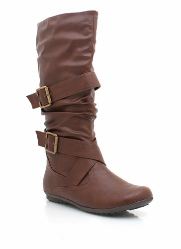 buckle-leather-boots BLACK BROWN CHESTNUT WHITE - GoJane.com