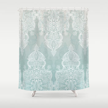 Lace & Shadows - soft sage grey & white Moroccan doodle Shower Curtain by micklyn
