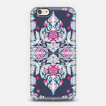 Pastel Folk Art Pattern in soft navy, pink, mauve & white iPhone 5s case by Micklyn Le Feuvre | Casetify
