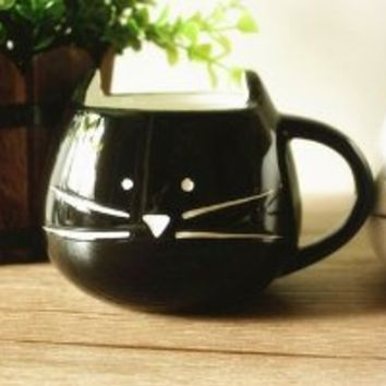 Moyishi Lovely Cute Little Black Cat Coffee Milk Ceramic Mug Cup Christmas Birthday Best Gift