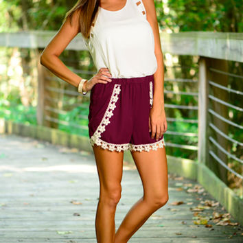 Layers And Lace Shorts, Maroon