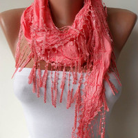 Bright Salmon Scarf with Salmon Trim Edge