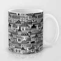 Black and White Busy Body Houses Mug by Stacey Muir