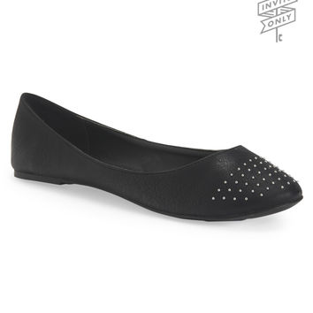 Aeropostale Invite Only Studded Ballet Flat - Black,