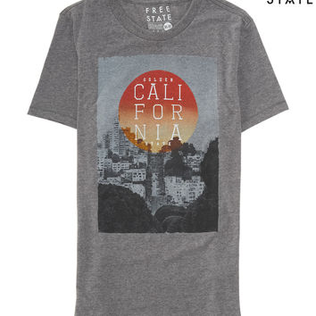 Aeropostale Free State Golden California Graphic T - Med Heather Grey,
