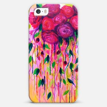 ROSES ARE RAD 2 - Beautiful Hot Pink Magenta Fuschia Burgundy Feminine Girlie Floral Abstract Swirls Bouquet Romance Love Flowers Colorful Painting iPhone 5s case by Ebi Emporium | Casetify