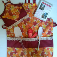 Girls Autumn Leaves Splendor Apron Set with Doll Apron