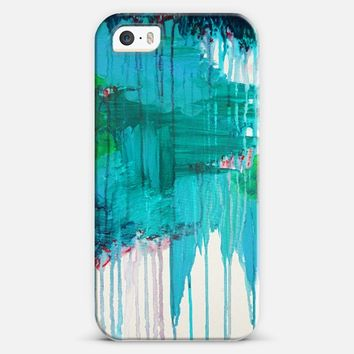 BLUE MONSOON - Bold Colorful Abstract Teal Royal Blue Kelly Green Rainy Day Storm Clouds Raining Drip Painting iPhone 5s case by Ebi Emporium | Casetify