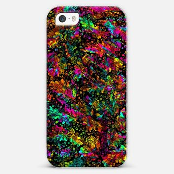 PRISMATIC POSY 4 Bold Rainbow Black Neon Pink Orange Green Red Blue Floral Abstract Watercolor Flowers Trendy Painting Fine Art Girly Design iPhone 5s case by Ebi Emporium | Casetify
