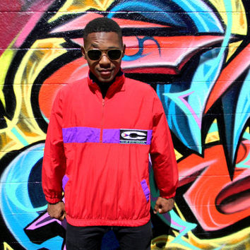 Vintage 90s Windbreaker, 90's Electric Red & Purple Unisex Pullover Jacket by Club Sportswear - Hip Hop Party - Size L XL Large XLarge