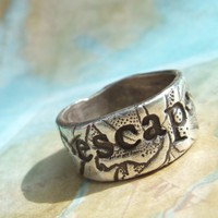ESCAPE or EXPLORE, Personalized Custom Ring, Thick Band, in RECYCLED Eco Friendly Fine Silver, 4 5 6 7 8 9 10 11 12 13 14 15 Sizes