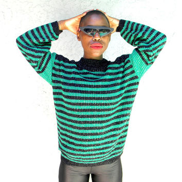 Vintage Metallic Sweater - Classic 80s Black and Green Striped Pullover Sweater w Metallic Silver Accents - Sparkly 1980s Jumper - Size M