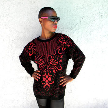 Vintage Metallic Sweater - Classic 80s Black Pullover Sweater w Metallic Red Floral Pattern - Sparkly 1980s Jumper - Size S Small / M Medium