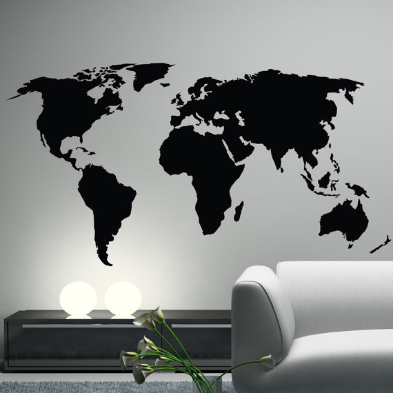 World Map Wall Decal Sticker World from Happy Wallz | Wall ...