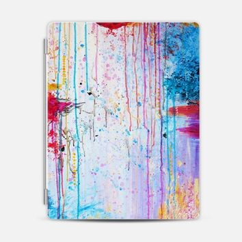 HAPPY TEARS - Bright Cheerful Rainbow Pastel Colorful Acrylic Feminine Pretty Girlie Sweet Drip Splat Bold Pink Red Purple Spring Art Abstract Painting iPad 3/4 case by Ebi Emporium | Casetify