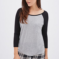FOREVER 21 Heathered Baseball Tee