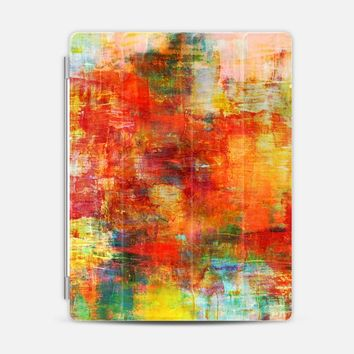 AUTUMN HARVEST - Bold Colorful Abstract Acrylic Painting Fall Season Warn Tones Red Orange Yellow Fine Art Whimsical Splash Chic Stylish Nature iPad 3/4 case by Ebi Emporium | Casetify