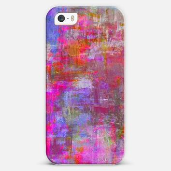 SWEET TALKER Pretty Pink Grunge Abstract Brushstokes Painting Fine Art Whimsical Girly Sweet Pink Grey Blue Purple Feminine Modern Design iPhone 5s case by Ebi Emporium | Casetify