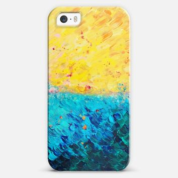 THE DIVIDE - Colorful Sunshine Yellow Turquoise Roal Blue Ocean Waves Sea Beach Summer Splash Bold Abstract Painting iPhone 5s case by Ebi Emporium | Casetify